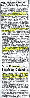 "January 24, 1949 newspaper article from the Missouri newspaper ""Moberly Monitor & Democrat'.  A ladies group meets to discuss important Colonial Homes."