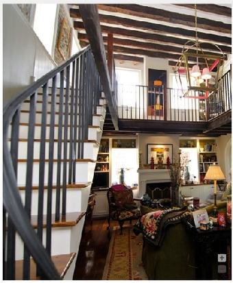 wrought iron stair railing, ancient wood, open gallery, river road, victor morawetz,