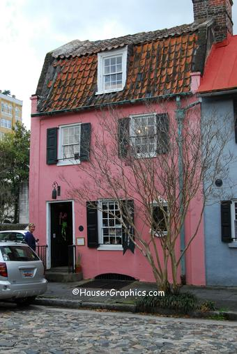 Charleston Pink Pirate House on 17 Chalmers in Charleston was restored by the New Yorker's Victor and Marjorie Morawetz who also restored and saved Fenwick Hall.  The Magnolia Alley on Maybank Highway, James Island, was also planted by the Morawetz as an entrance to their John's Island Fenwick Plantation.