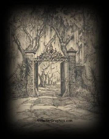 Elizabeth Verner's Gates of Fenwick, Charleston artist, pink house, Verner etching, verner sketch, Carolina plantations, Historic Gates of America,