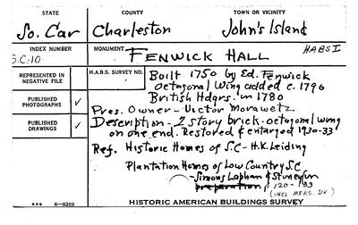"1934-April.  This is the original ""Historical American Building Survey"", (HABS), from April 1934 by the Department of Interior, National Park Service. Even back 75 years to 1934, previous owner, Victor Morawetz, understood the historical significance of the plantation and did all he could to preserve it and its history.  The survey included the main house and the one remaining 'coach house'."