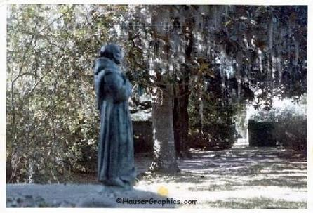 St Francis overlooking Fenwick Hall Formal Garden with Reflection pond 1970's on Johns Island, SC near Charleston