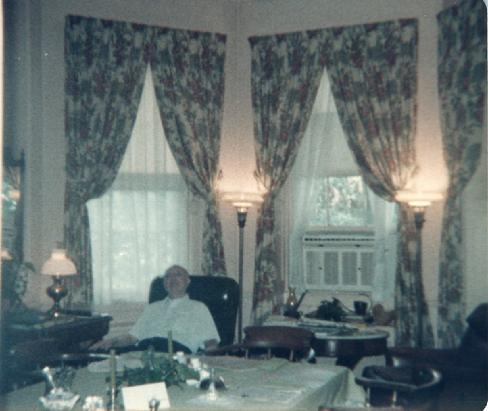 Mr Claude Wright Blanchard in the octagon wing informal dining room in his Charleston Plantation, Fenwick Hall, on John's Island, SC