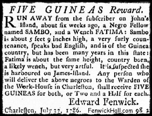1786, July 27th.  Newspaper Notice by Edward Fenwick Jr, concerning two runaway slaves.  An ulgy era of Fenwick's history.  From the Columbian Herald Newspaper.