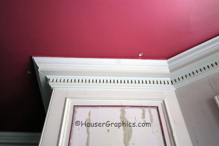 Formal dining room cornice from the Hospital.  Note the multiple holes in the plaster and wood