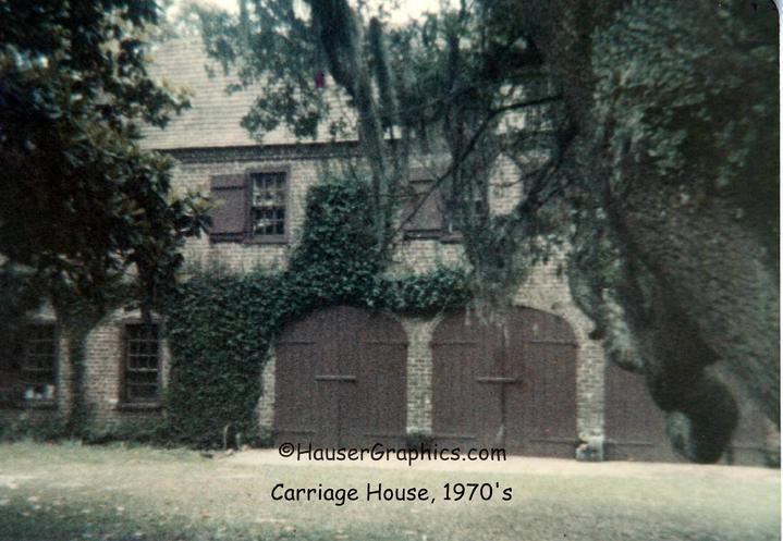 Edward Fenwick Sr's, 1973 Coach House, Stono River side.  The huge wood coach doors are now glass that overlooks the rear lawn of the estate.  Photographer John Hauser.