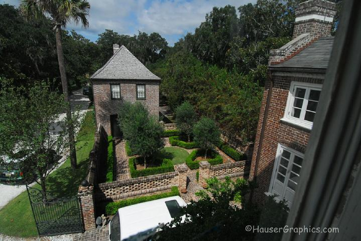Carriage House, English Garden, Charleston Planatations, John's Island, Kiawah, Seabrook, Edward Fenwick, England, Sir John Fenwick, John Hauser, Slate roof, wood shingle roof,  palm tree, oak alley, river road, fenwick alle