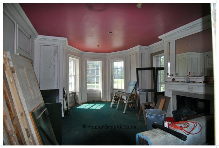 Fenwick Hall Hospital Main dining room as they left it behind. Wonderful colors! Photo during restoration
