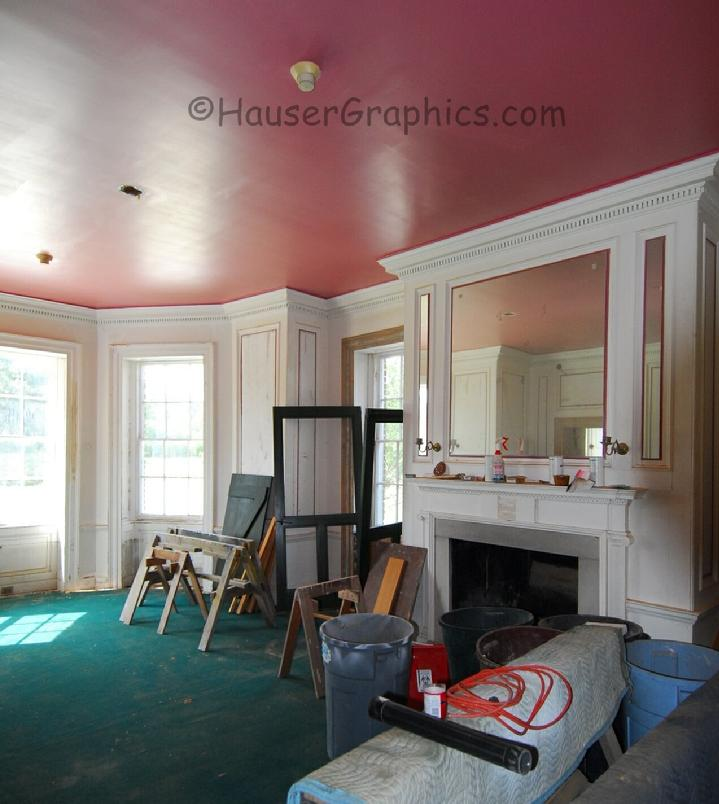 Fenwick Hospitals formal dining room fireplace as left. This is the dining room in the octagonal wing facing River Road.