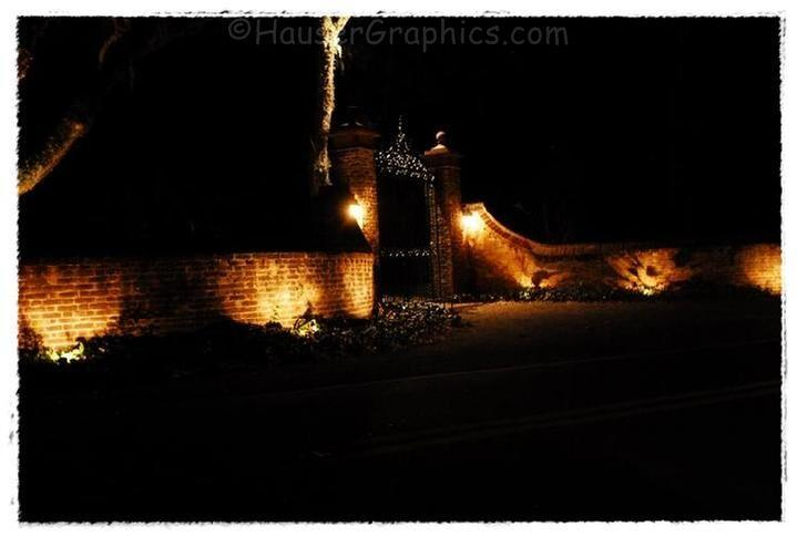 Gates of Fenwick at night.  Photographer John R. Hauser.